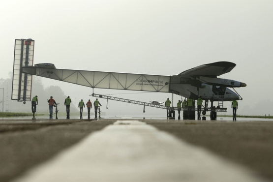 Solar Impulse 2 aircraft is pulled out of its base for tests by pilot Bertrand Piccard in Payerne