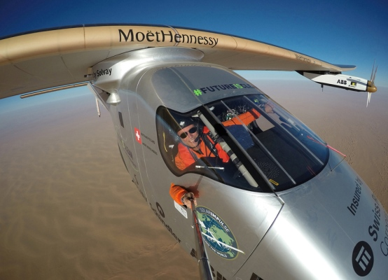 Selfie picture shows Swiss pioneer Bertrand Piccard during the last leg of the round the world trip with Solar Impulse 2 over the Arab peninsula